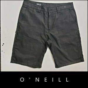 Oneill Men Flat Front Relaxed Fit Short Sz 34 Gray